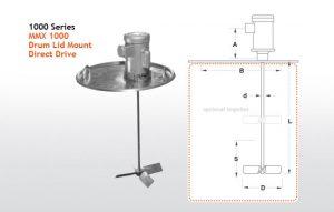 MMX 1000 Drum Mixers 55 Gallon Drum - Drum Lid Mount