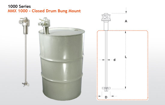 MMX 1000 - Closed Head Drum Mixer - Bung Mount